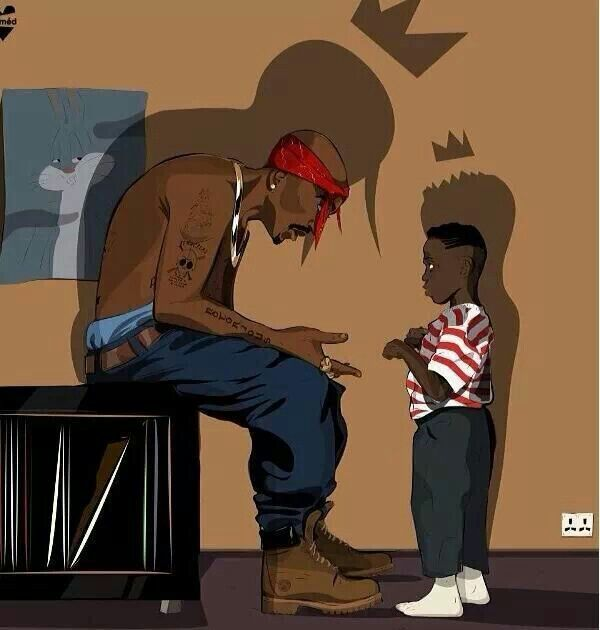 2Pac talking to a young Kendrick Lamar - awesome illustration.