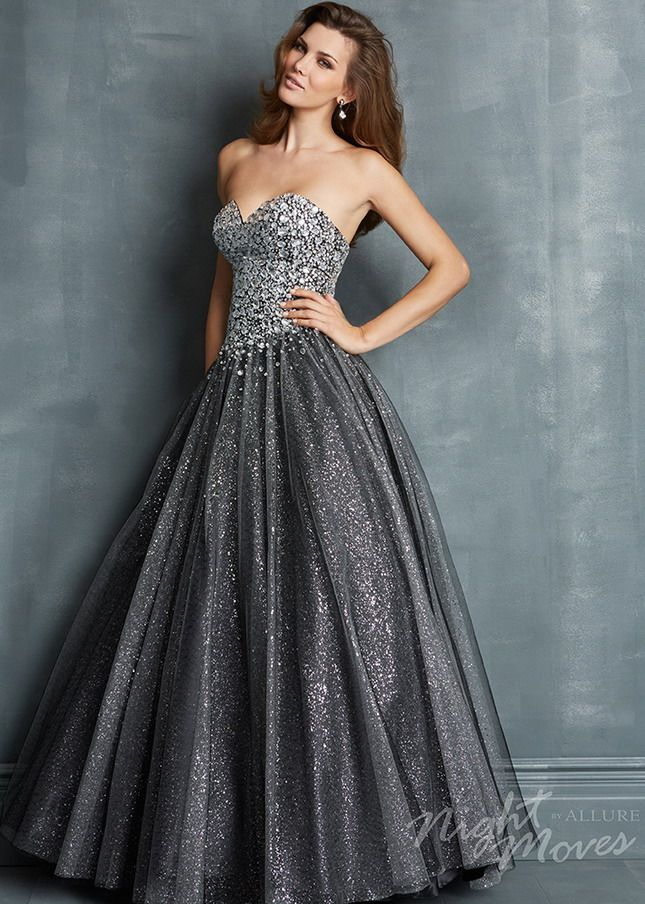Grey Strapless Rhinestone Beaded Top Sparkly Tulle Ball Gown ... b95e4d750119