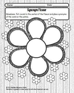 Synonym flower this graphic organizer is a quick activity to increase students vocabulary for Synonym template