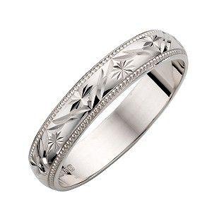 white gold ladies patterned wedding ring h samuel the jeweller - Wedding Ring White Gold