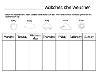 printable weather chart watch the weather for a week and fill in the chart science ideas. Black Bedroom Furniture Sets. Home Design Ideas