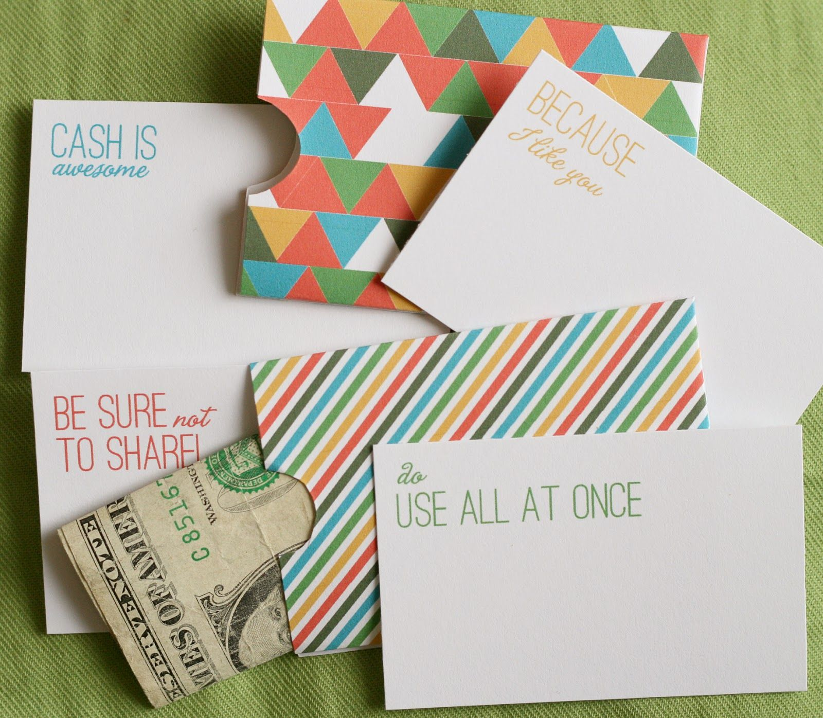 Cash Holder cards - free printable #gift |  PRINT me for ...