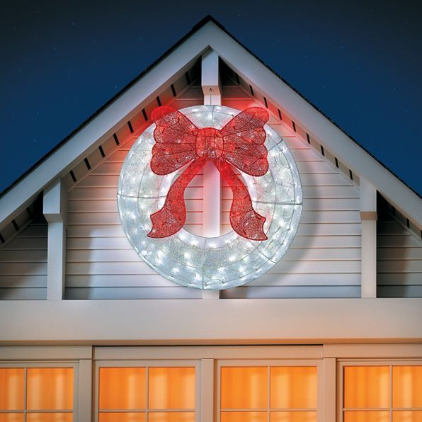 Christmas lighted glittered wreath bow hanging door outdoor yard christmas lighted glittered wreath bow hanging door outdoor yard art decoration unbranded mozeypictures Choice Image