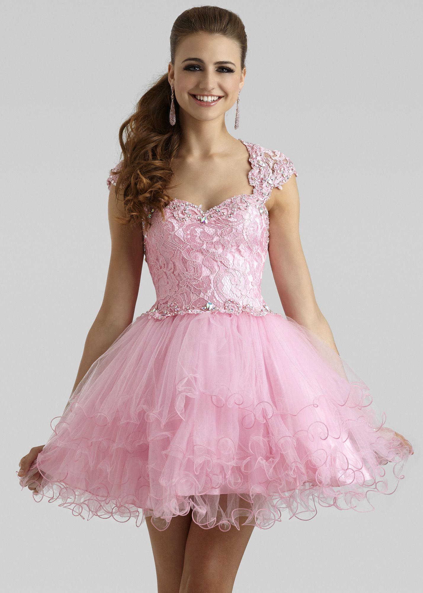 Clarisse 2332 - Princess Pink Lace Short Prom Dress | Short & Sassy ...