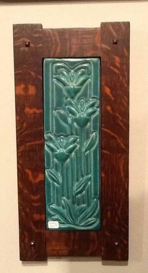 Arts Crafts Craftsman Quartersawn Oak Frame Pewabic Pottery Tile Pewabic Pottery Arts Crafts Style Art Nouveau Tiles