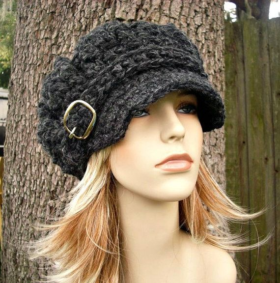 Charcoal Grey Newsboy Hat Crochet Hat Womens Hat Grey Hat ...