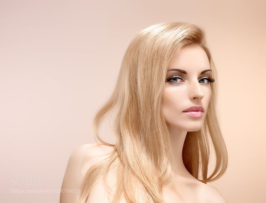 Beauty portrait woman eyelashes natural makeup by Indigo918