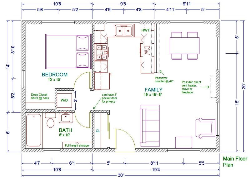 20x30 single story floor plan one bedroom small house plan move the washer and - Single Story House Plans