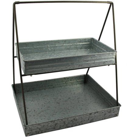 Better Homes And Gardens 2 Tier Rectangular Serve Walmart Com Galvanized Tiered Tray Tiered Tray Decor Galvanized Tray