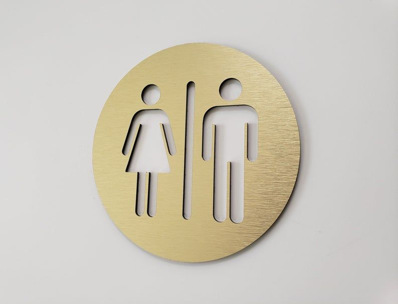 Restroom Door Sign Metal Unisex Bathroom Sign Gold All Image 0