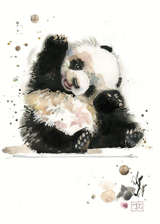 Bug Art F003 Baby Panda greetings card #babypandas
