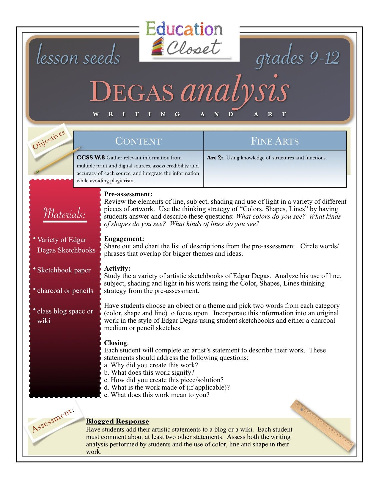 High School Artsysis Lesson Plan