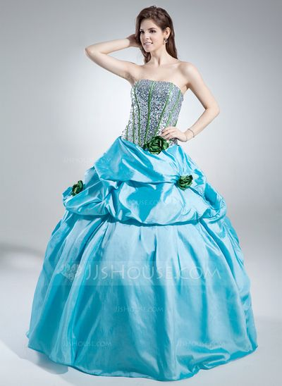 Corte de baile Estrapless Vestido Tafetán Con lentejuelas Vestido de quinceañera con Volantes Flores (021016040)