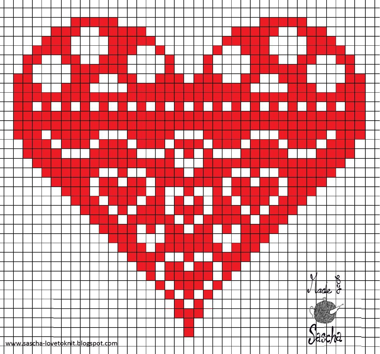 Heart Cross Stitch. Can also be used on tapestry crochet ...