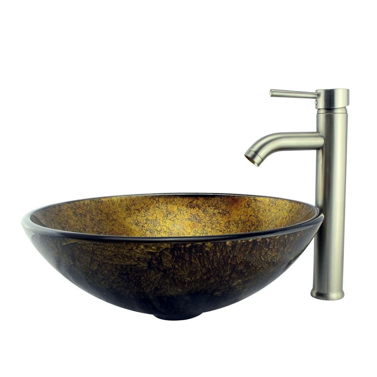 Foil Handcrafted Glass Bowl Vessel Bathroom Sink Products