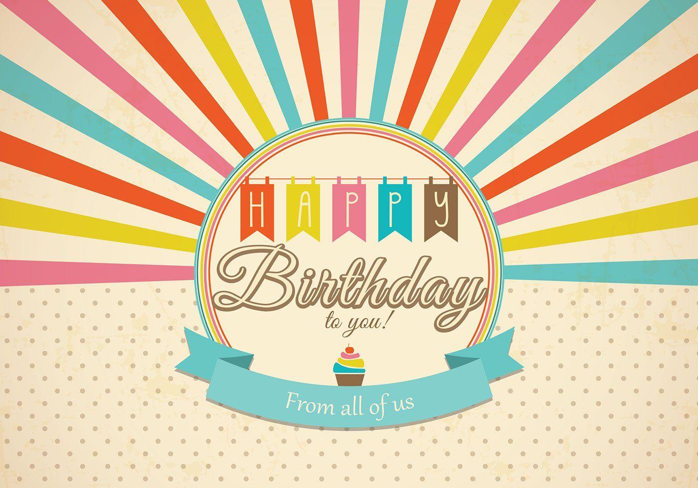 Retro Happy Birthday Card Psd Free Brushes At