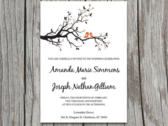 INSTANT DOWNLOAD Love Birds Heart Branch Wedding Invite Microsoft Word  Template   Whimsical Nature Tree Branch