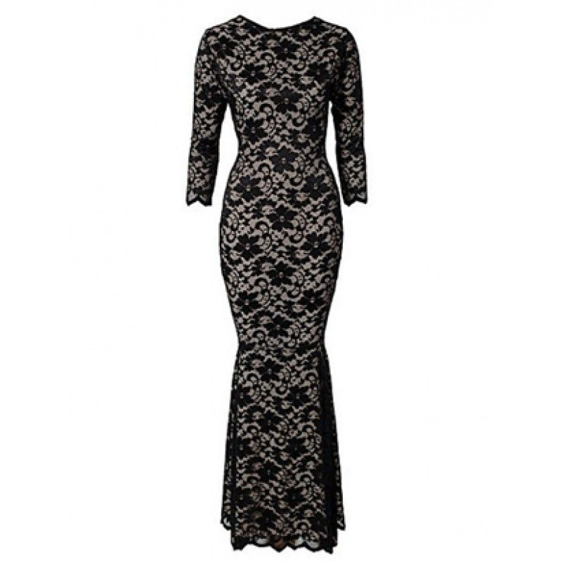 Fully Lined Black Long Lace Gown Long Sleeve Mermaid Evening Dress With Open Back  It will shows the body curve