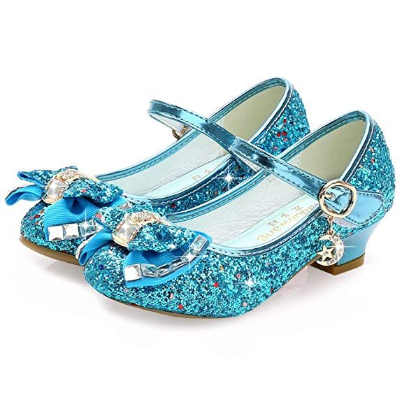 c67c1c8c89 Waloka Girls Shoes Mary Jane Size 1 Blue Bridesmaid Party High Heels Shoes  for Little Teen Flower Girls 10 Yr Kids Cute Cosplay Wedding Princess Dress  ...