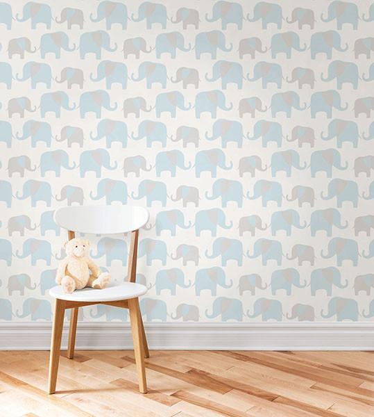 GREY /& BLUE NUWALLPAPER ELEPHANT PARADE PEEL /& STICK WALLPAPER WALL DECOR