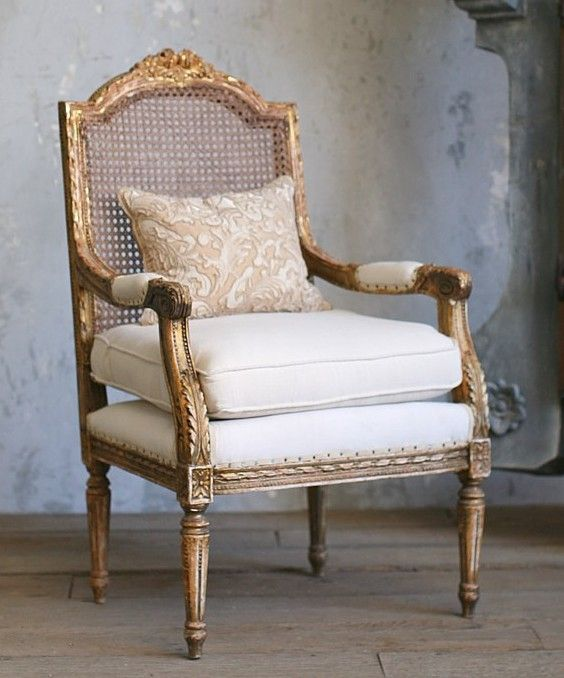 Vintage Louis XVI Shabby Single Gilt Armchair Cane