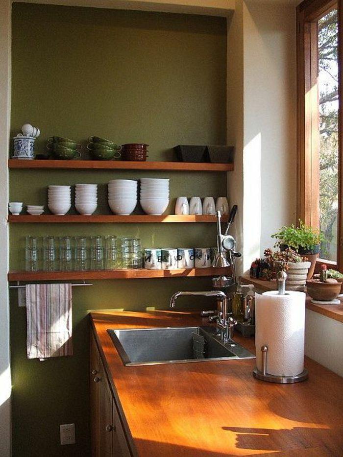 jolie couleur cuisine feng shui avec murs vert fonc
