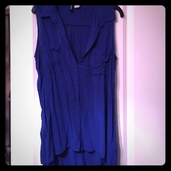 Royal blue tank Soft Tshirt material. Loose. Button down with collar Divided Tops Tank Tops