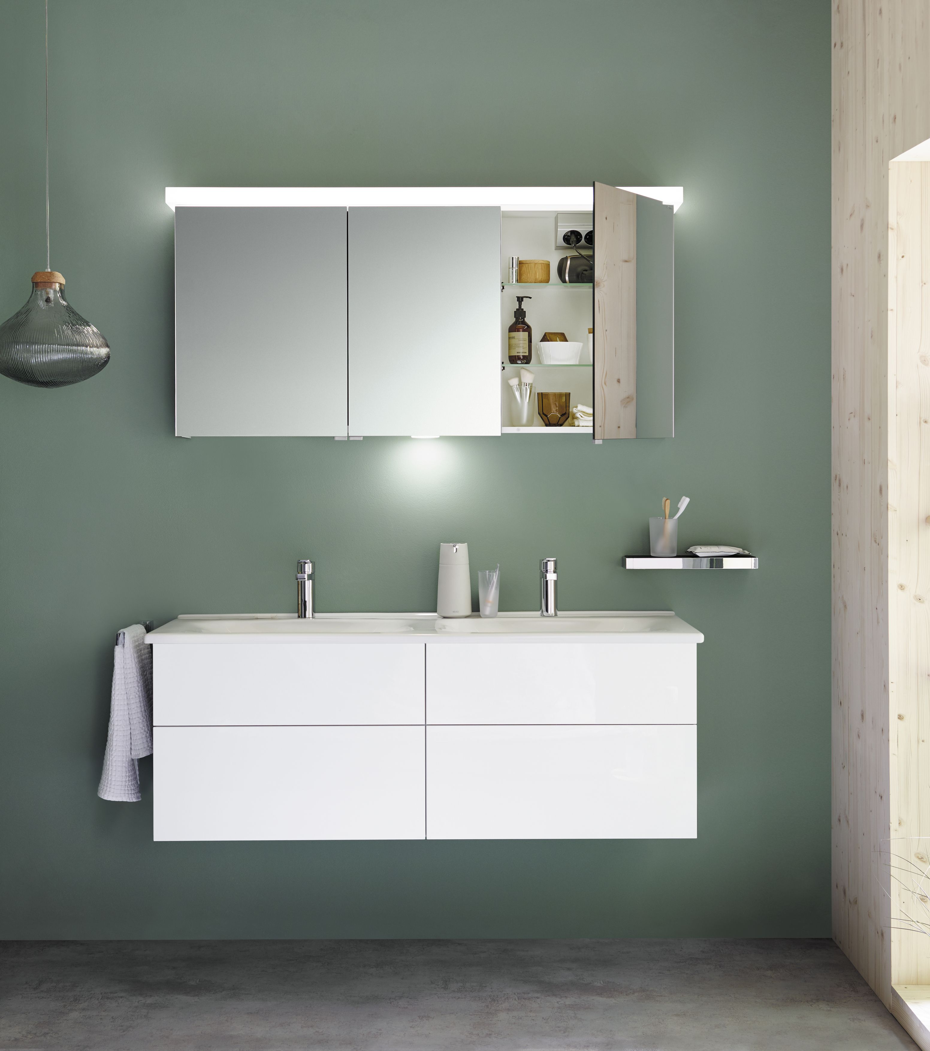 Burgbad Essento Set Bestehend Aus Spiegelschrank Mit Led Beleuchtung Und Led Waschtischbeleuchtung Keramik Doppelwaschtisch Und Waschtischunterschrank Breite Spiegelschrank Waschtischunterschrank Badezimmer Trends