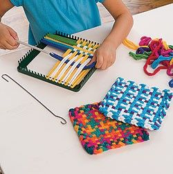 Kids Potholder Craft Kit Loom Loops Kp I Used To Do This As A Kid I Don T Know That We Ever Used Any Of The Potholde Loom Craft Potholder Loom Craft