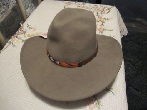 Mens Western Hat Tan Soft Wool Sz Small | eBay