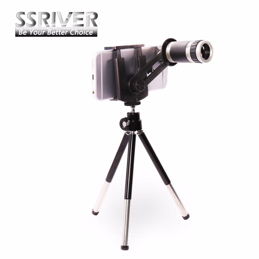 Universal 8x Zoom Telescope Camera Lens Stand Tripod Holder Mobile Phone Optical With Clamp Black For Iphone Samsung