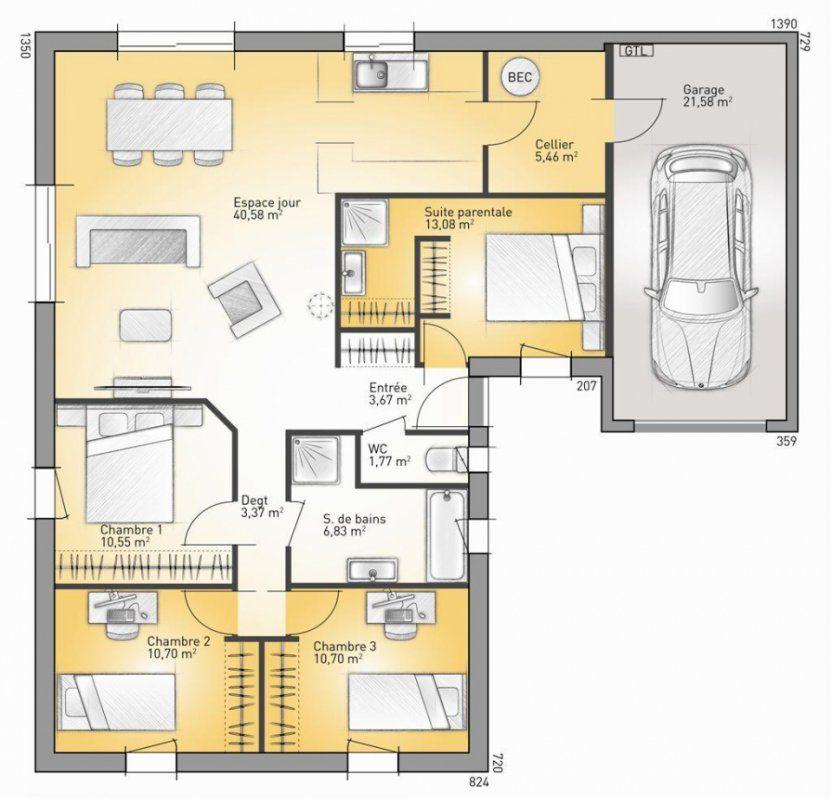 Plan maison neuve à construire - Maisons France Confort Lumina 106 G