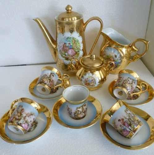 Jogo De Cafe Em Porcelana Dp R 650 00 Xicaras De Cha Vintage Xicaras De Porcelana Porcelana