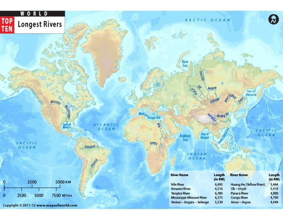Buy World Top Ten Longest Rivers Map Top ten and Rivers - best of world map poster time zones