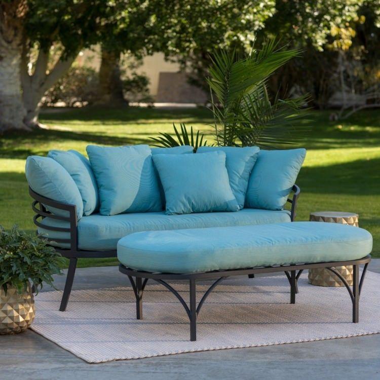 Outdoor Patio Daybed Ottoman Furniture Set Aluminum Deck Garden