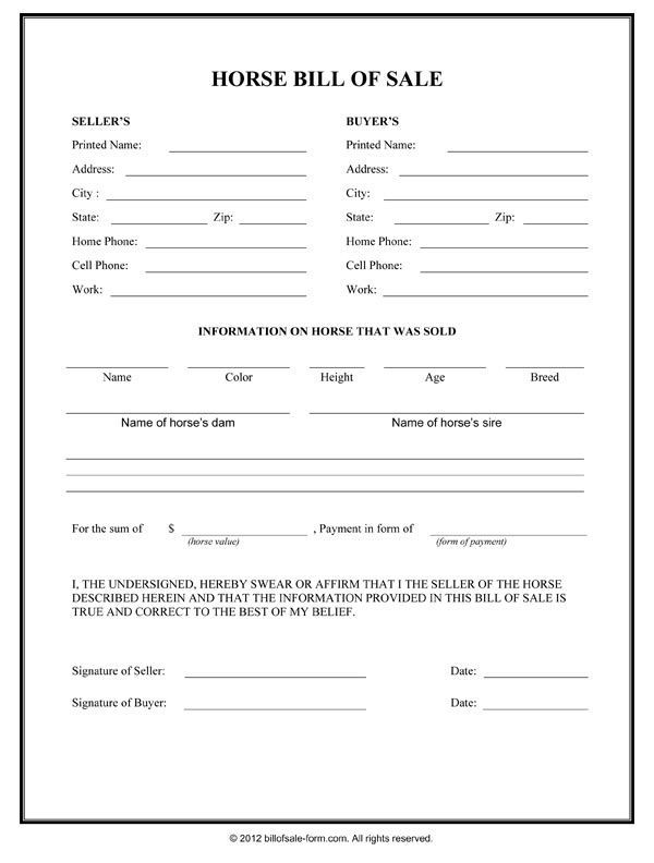 Horse Template Printable  Horse Bill Of Sale Form  Horse Care