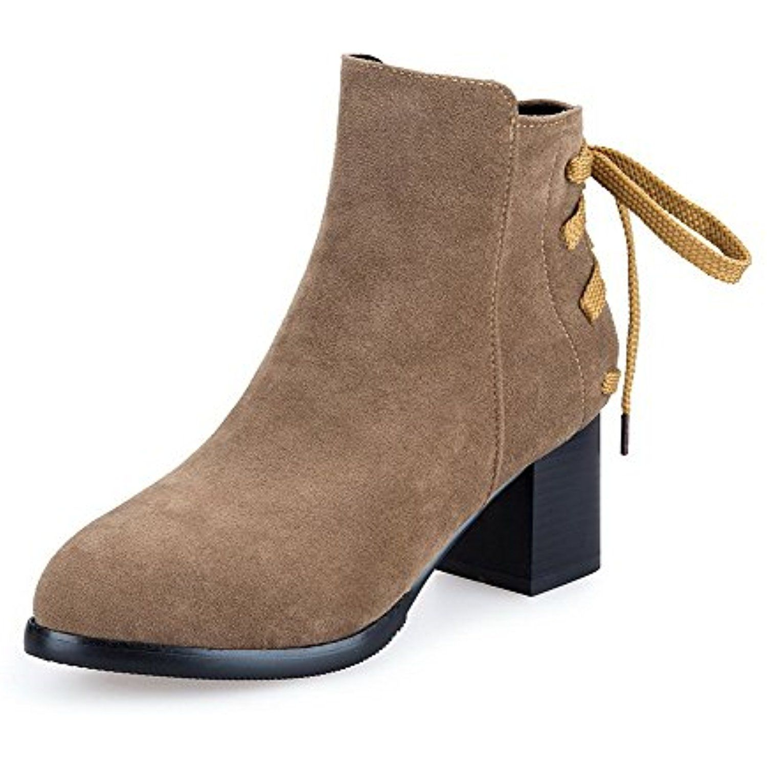 Women's Solid Imitated Suede High-Heels Zipper Pointed Closed Toe Boots