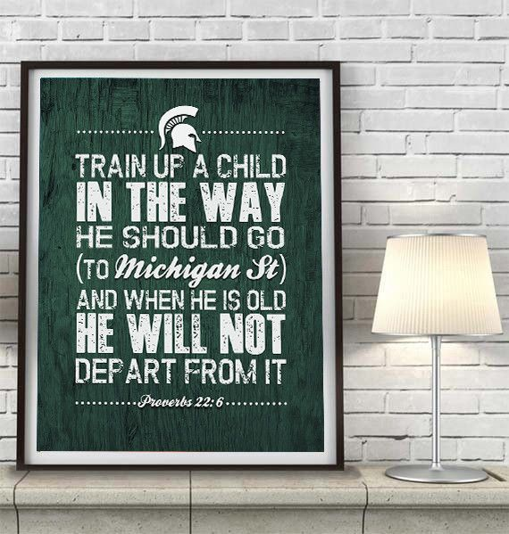 """Michigan State Spartans """"Train Up A Child"""" Art Print Poster Gift"""