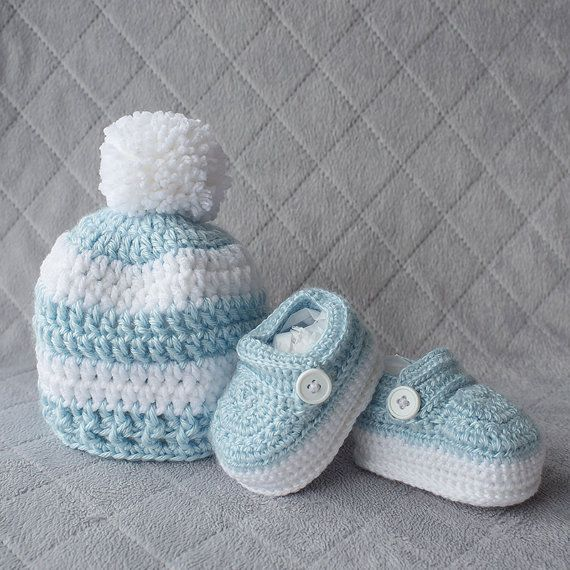Baby Boy Set, Crochet Baby Boy Hat and Booties Set, Pom-pom Hat, Boy ...