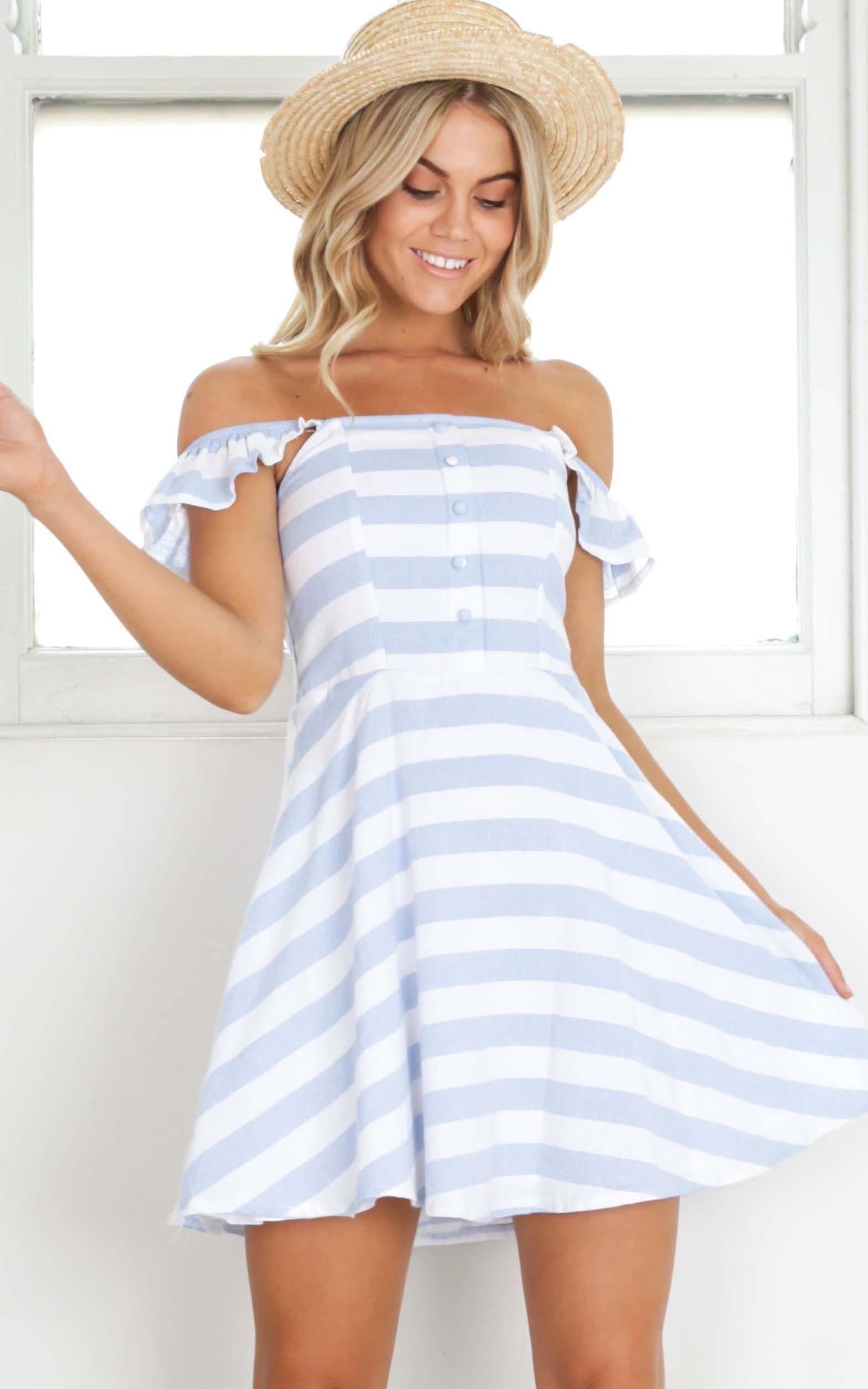 Showpo Promise You dress in blue stripe - 8 (S) Casual Dresses ...