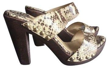 Jimmy Choo Leather Snakeskin Mules
