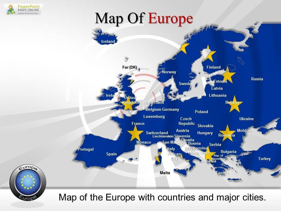 present europe with excellent ppt map designed with graphics
