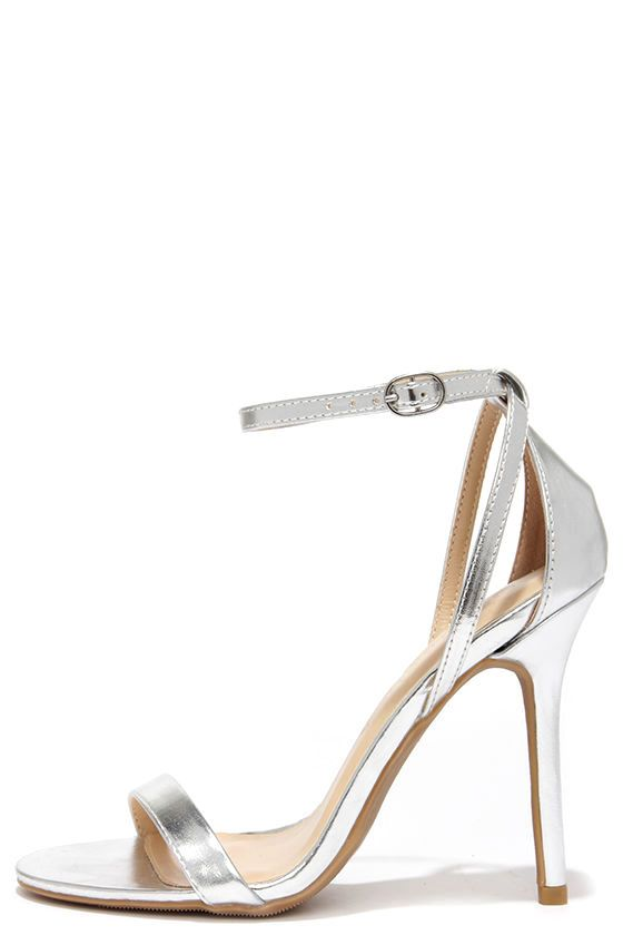Silver Heels With Ankle Strap