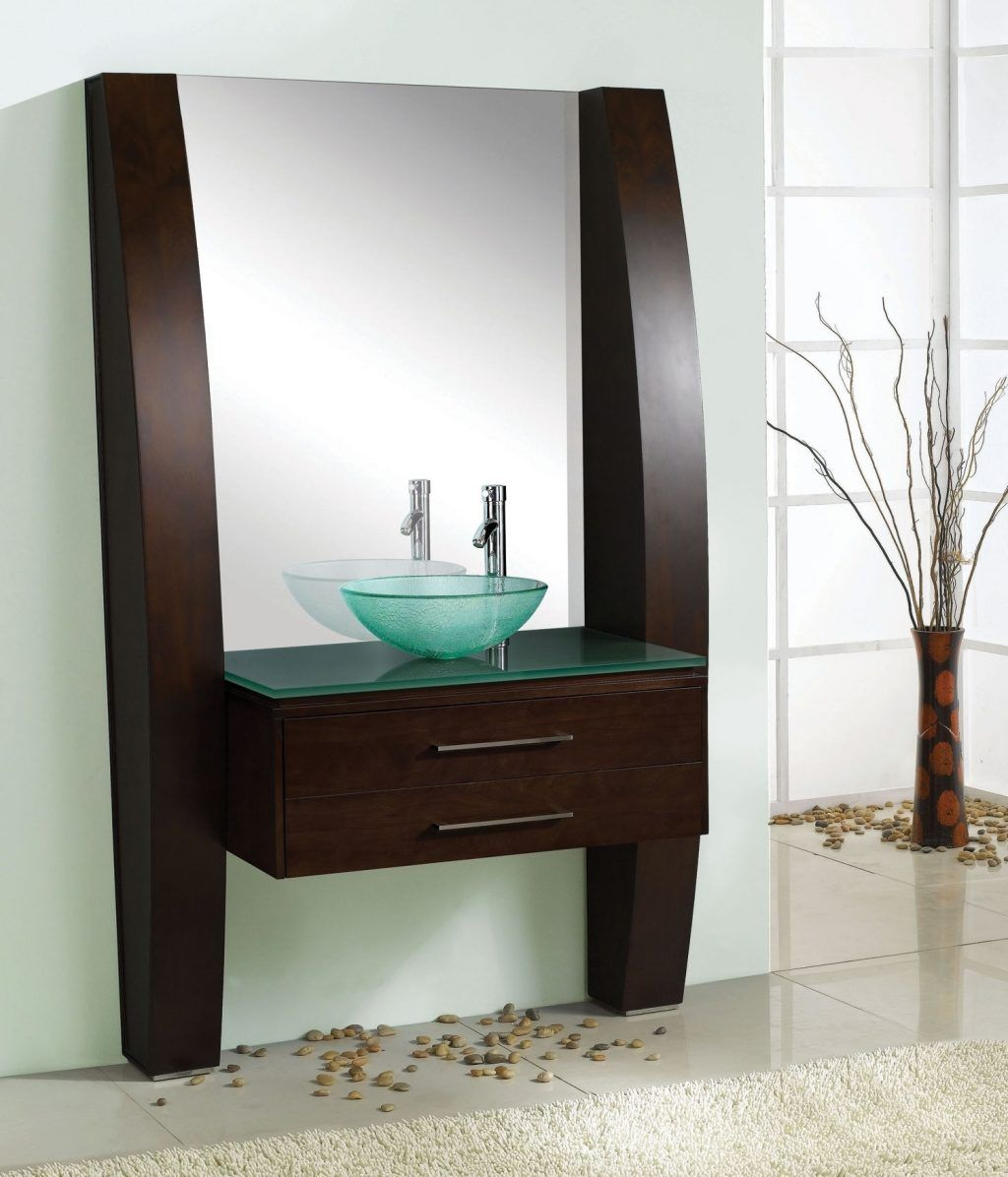 Bathroom Furniture Bathroom Dark Brown Wooden Floating Bathroom