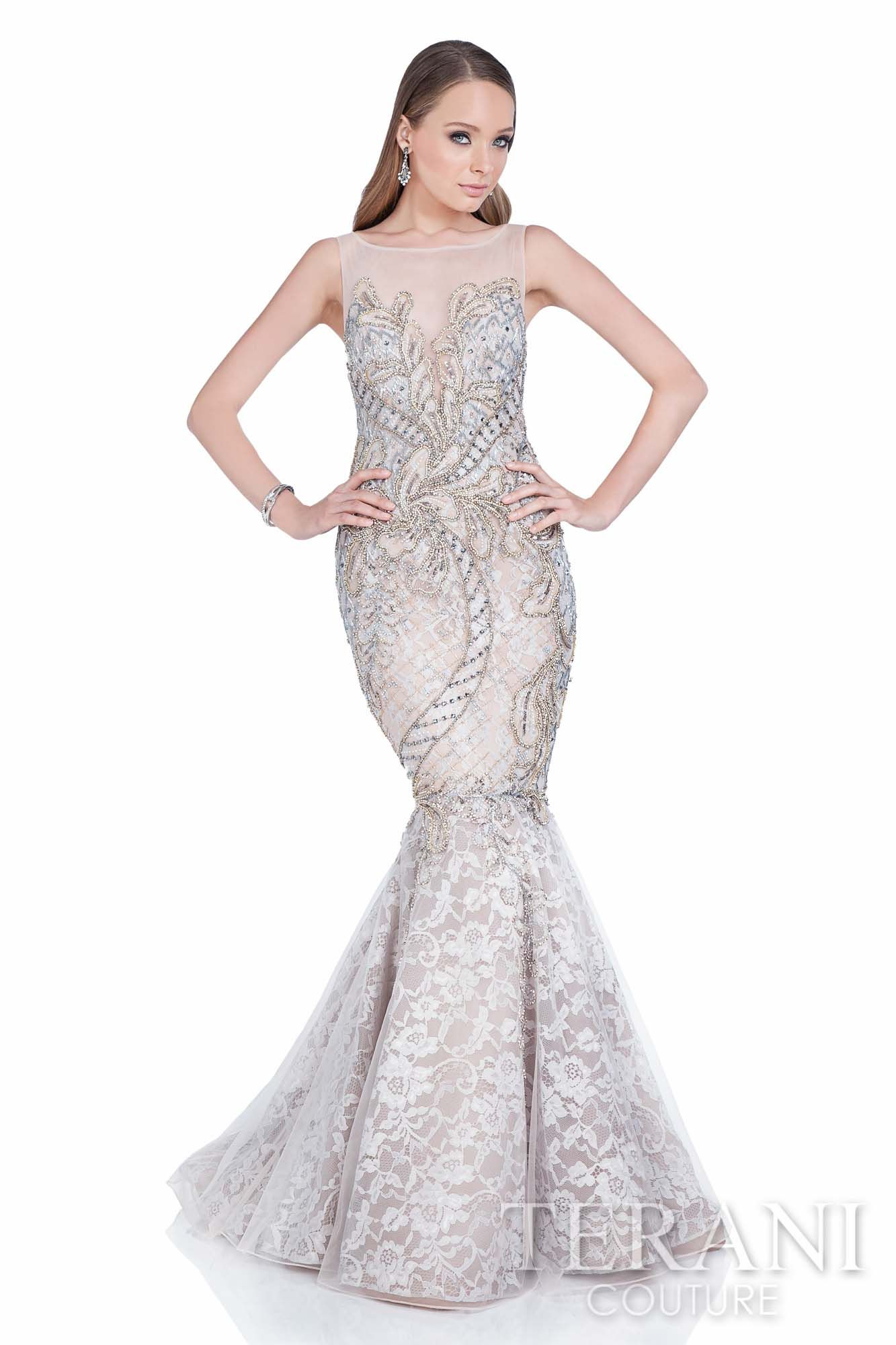 Terani couture stunning mesh and lace mermaid gown accented with