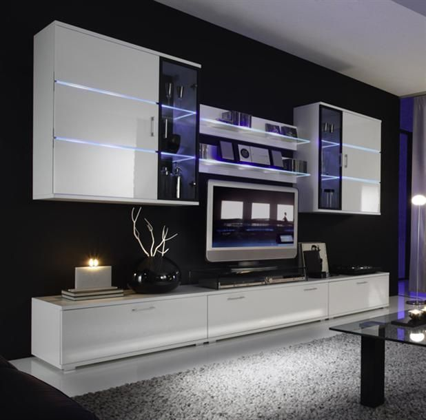 White Living Room Theaters Wall Tv Unit Design Modern Tv Room