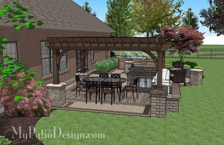 creative brick patio design with pergola and hot tub 775 sq ft