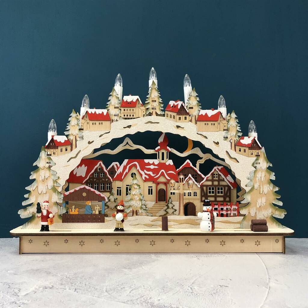 Christmas Wooden Red Candle Bridge 7 Light Bulb Pre-Lit Xmas Window Arch Decor