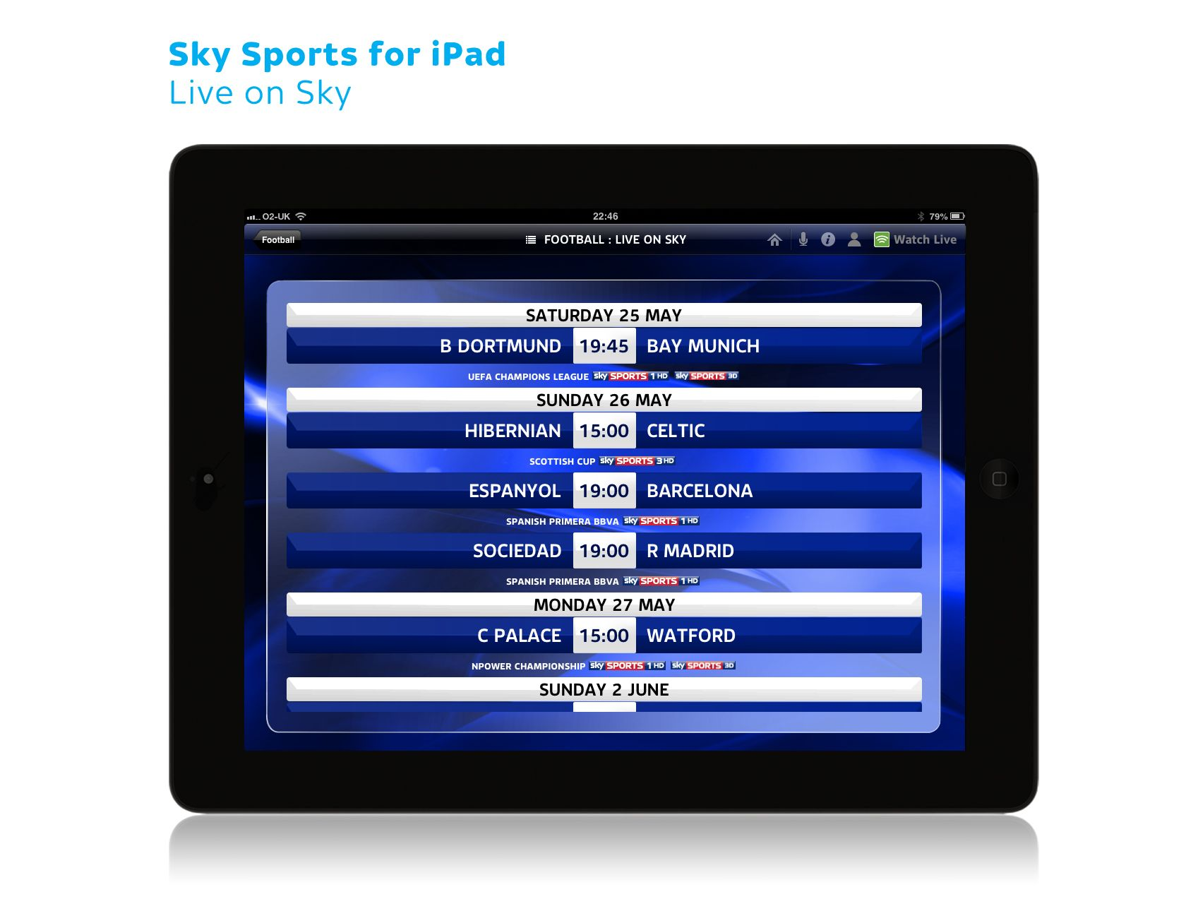 Sky Sports for iPad Live on Sky Sky football, Dortmund