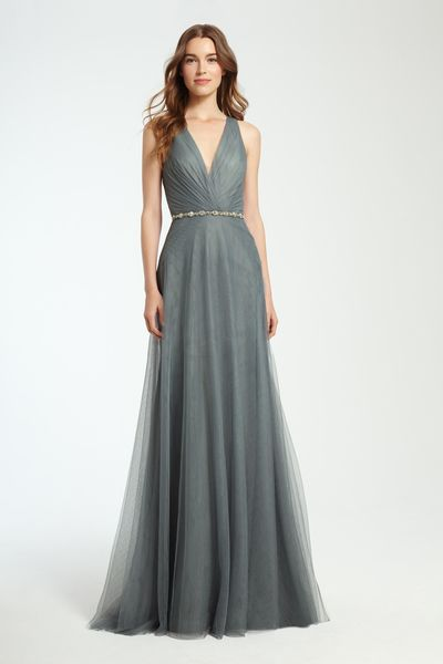 f1e412ff5f2f Monique Lhuillier Fall 2016 Bridesmaid Grey Gray Long Dress with Beaded Belt